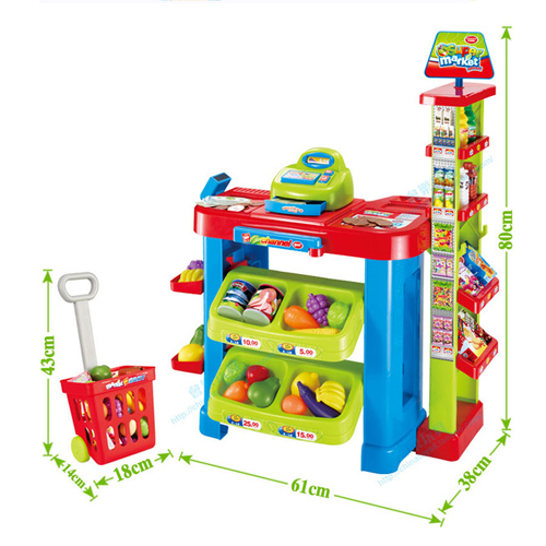 Kids Shopping Play Set with Shopping Trolley and Cashier Fun - Click Image to Close